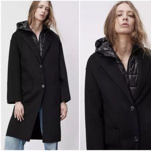 NEW Zara 2 in 1 Wool Blend Coat Black Overcoat Quilted Vest Large